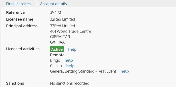 UK Gambling Licence 32Red